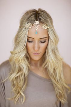 Gold Leaf Headpiece, Chain Headband, Turquoise Boho Bead, Bohemian Chain Headband, Headpiece with Turquoise Bead and Gold Accent (HB-190) on Etsy, $28.00. Lovee