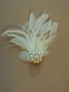 Fancy Feather Hair Comb Bridal Facinator Ivory by kathyjohnson3, $36.00