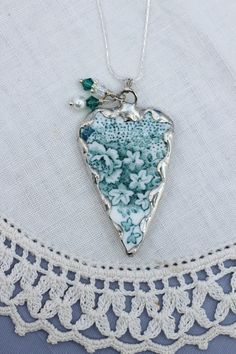 Broken China Jewelry Elongated Heart Pendant Necklace Teal Rose Sterling Silver Chain Included. via Etsy.