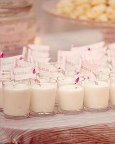 This couple's wedding featured a cookie bar, complete with small glasses of chilled milk