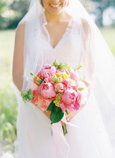 pink peony bouquet, photo by Cassidy Carson http://ruffledblog.com/louisiana-backyard-wedding #flowers #weddingbouquet