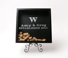 Personalized Wedding Cork Holder Shadow Box will be the perfect gift!