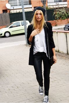 Leather pants converse