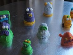 fondant figures of Trash Pack characters.  Preparing for my sons 6th birthday cake.  Just realized I haven't drawn the black dots in the eyes yet lol