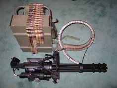 Minigun - a 7.62 mm, multi-barrel heavy machine gun with the high rate of fire (2000 to 6000 rounds per minute).