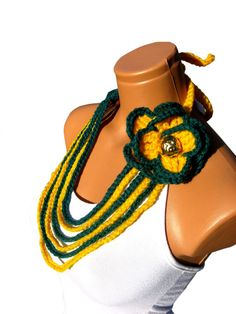 Mustard yellow and emerald green crochet by WomanStyleStore, $23.90