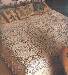Crochet bedspread ♥LCM-MRS♥ with diagram, click on red letter wording #13 to view diagram ---::ArtManuais- Tecnicas de Artesanato | Moldes para Artesanato | Passo a Paso