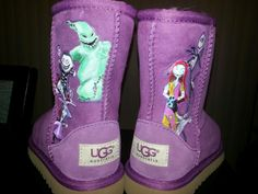 Auth UGG Boots Sz 10 T Toddler Purple Custom Painted Nightmare Before Christmas