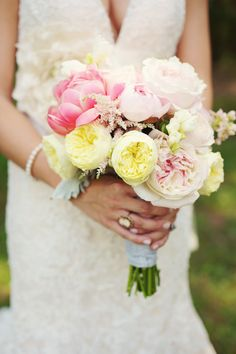 bridal bouquet: peonies, rananculas, juliet roses, eucalyptus, etc.    flowers done by lindsay coletta