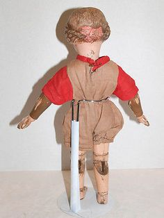 Antique Wood Schoenhut Doll Carved Hair and Pink Bow | eBay