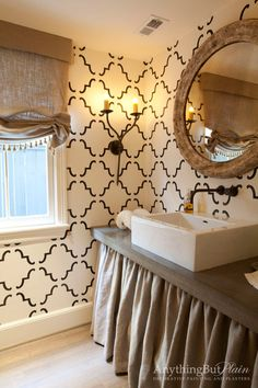 Stenciled Quatrefoil Patterned Walls.
