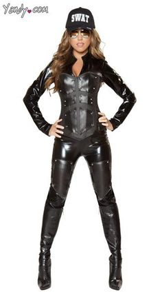 Bulletproof Swat Babe Costume - The Bulletproof Swat Babe costume  includes a long sleeve catsuit, a fully boned corset with contrast armor and studded detail along with thigh pads with studs.(Swat hat not included).