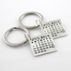 HIS and HERS Mark Your Calendar Keychains hand stamped and personalized sterling silver key chains on Etsy, $171.00