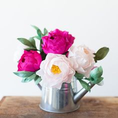 crepes, papers, paper peonies, flower tutorial, diy flower
