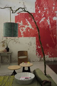 floor lamps, interior, wall treatments, red cross, tree branches, light, design, red walls, painted walls