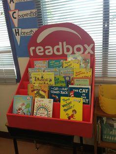 Read box made from a Scholastic book fair box.