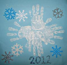 Handprint and Footprint Arts & Crafts: Handprint Snowflake Art