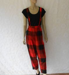 Red and black plaid wool pants.