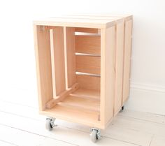 ERNIE INDUSTRIAL CRATE ON CASTORS  Original hand crafted item made from Tasmanian Oak  Can be used as a storage unit, seat, occasional table, bedside table etc  Beautiful unique item to add interest and design flair to your home  External Dimensions:  450mm h x 300mm w x 360mm d
