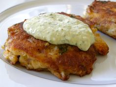 Crab cakes with a roasted jalapeno aioli.