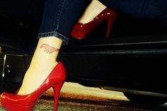 Red shoes, Mustang tattoo love it!
