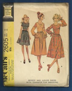 1970 McCalls 2605 Fitted Prairie Dress with Upper by MrsWooster, $14.00