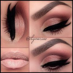 Gold Smokey Eye Makeup - Winged Eyeliner - Nude Lips Check out the website to see more  Not the lips though. Eek.