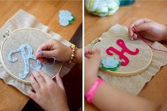 For a kids party do hand embroidery on a shirt for a make and take party favor!