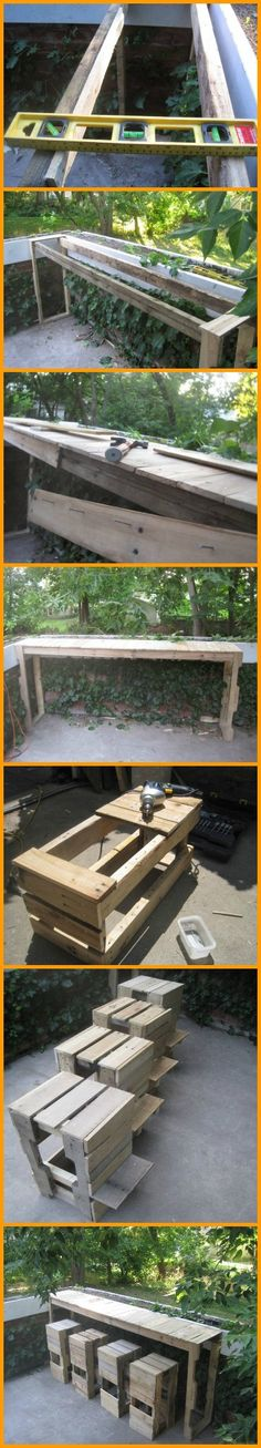 DIY Pallet Outdoor Bar and Stools! View project album here: http://theownerbuildernetwork.co/6l9c Interested in making a cheap outdoor bar? This project shows you how.