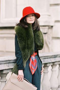 fashion weeks, green fur, furs, fashion models, colors, street style, red hats, london fashion, belts