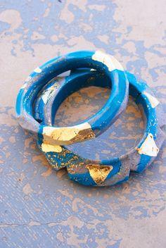 Jessamity: DIY Gilded Polymer Clay Bangle Bracelets #diy #bracelet #polymer_clay #tutorial