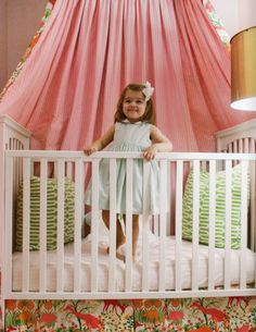 baby girl's crib with canopy // Elizabeth McKay's home // Matchbook Mag