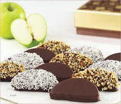 Chocolate Dipped Apple Slices--would be easy to make and a good Fall alternative to chocolate covered strawberries)