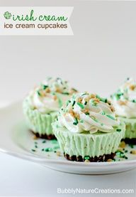 {Irish Cream} Ice Cream Cupcakes!