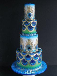 Art Deco peacock wedding cake