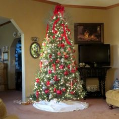 Family tree of red and silver graces the living space this year