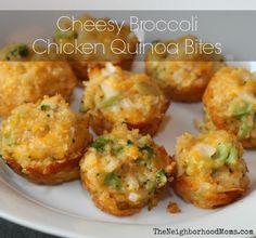 Cheesy Broccoli Chicken Quinoa Bites