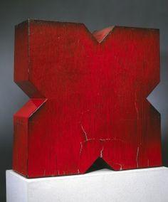 """Red X"" by John Mason, 1966, Stoneware"