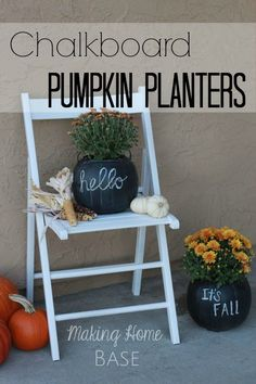 Paint plastic pumpkins with chalkboard paint, and pen a fall greeting. That's what blogger Chelsea Coulston did. You could substitute your house number and post the pumpkin on your porch when it's time for a party, too. Perfectly phabulous, yes? ||  @chelseacoulston
