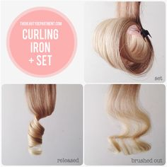 curling iron curls + setting it to cool.