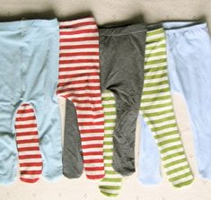 DIY Sew Baby Tights - Made from your old T-shirts.