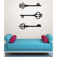DIY romantic valentines day decor idea with vintage skeleton keys Keys to my Heart Wall Art Kit | WallPops!