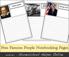 Free Famous People Notebooking Pages - Homeschool Helper Online