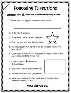 ... skills/following directions on Pinterest | Following Direct