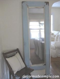 old french door upcycled as a mirror