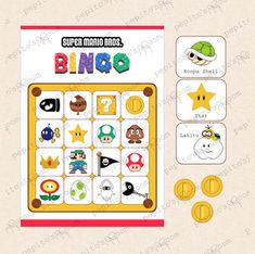 PrintINK Super Mario Bros. Bingo  Printable PDF by PepitosRoom, $7.50