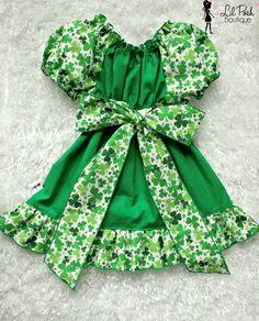 Girls St Patrick's Day Dress Green Clovers by lilposhboutique