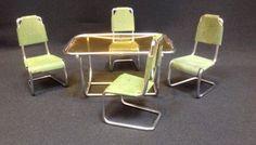 Vintage-Metal-Dollhouse-Furniture-EAMES-MODERN-UNUSUAL-MID-CENTURY-TABLE-CHAIR