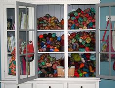 hidden storage, glass doors, storag fabricandyarnstorag, china cabinets, yarn stash, yarn storag, stash storag, craft room, old china