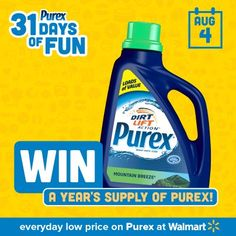 Repin if you want a #FREE year of Purex laundry detergent! #Purex31DaysOfFun